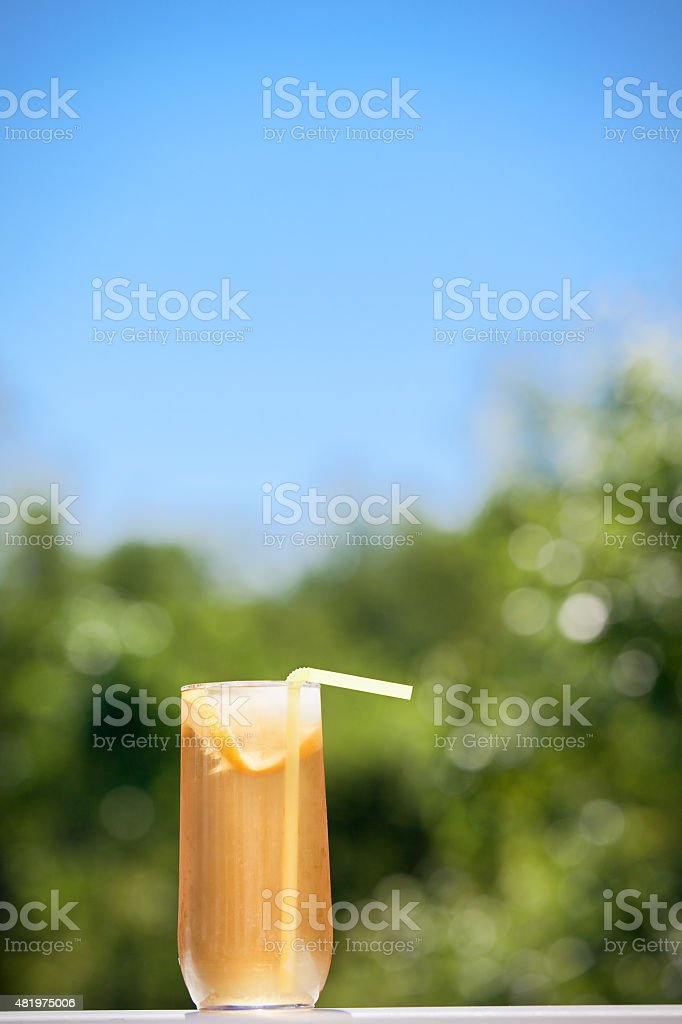 Glass Of Iced Tea On Hot Summer Day stock photo