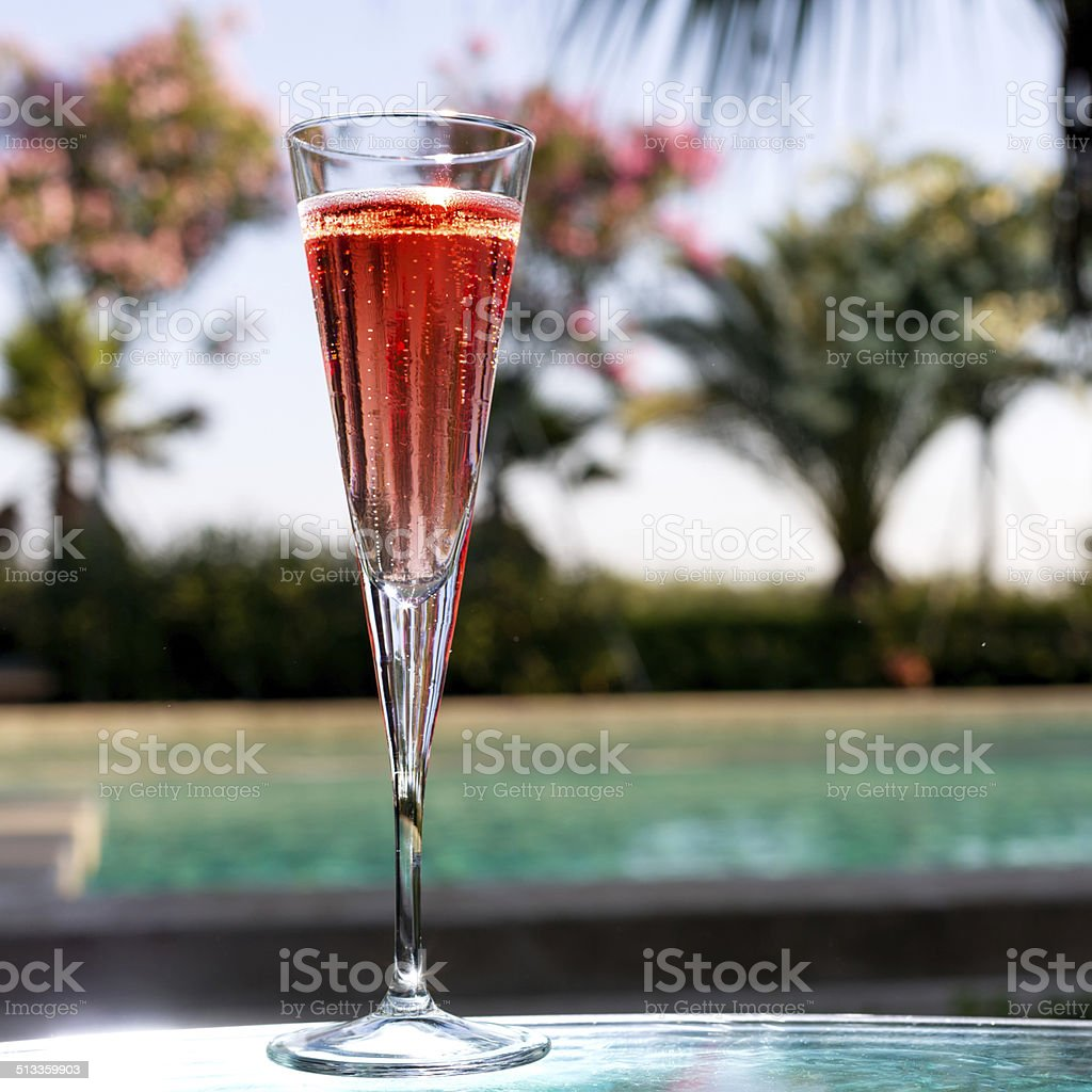 Glass of Kir Royal stock photo