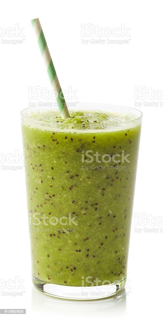 Glass of kiwi smoothie stock photo