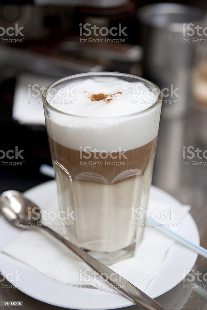 Glass of latte coffee stock photo