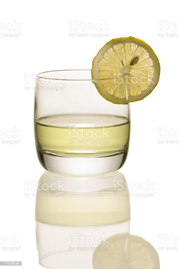 Glass of lemon tea stock photo