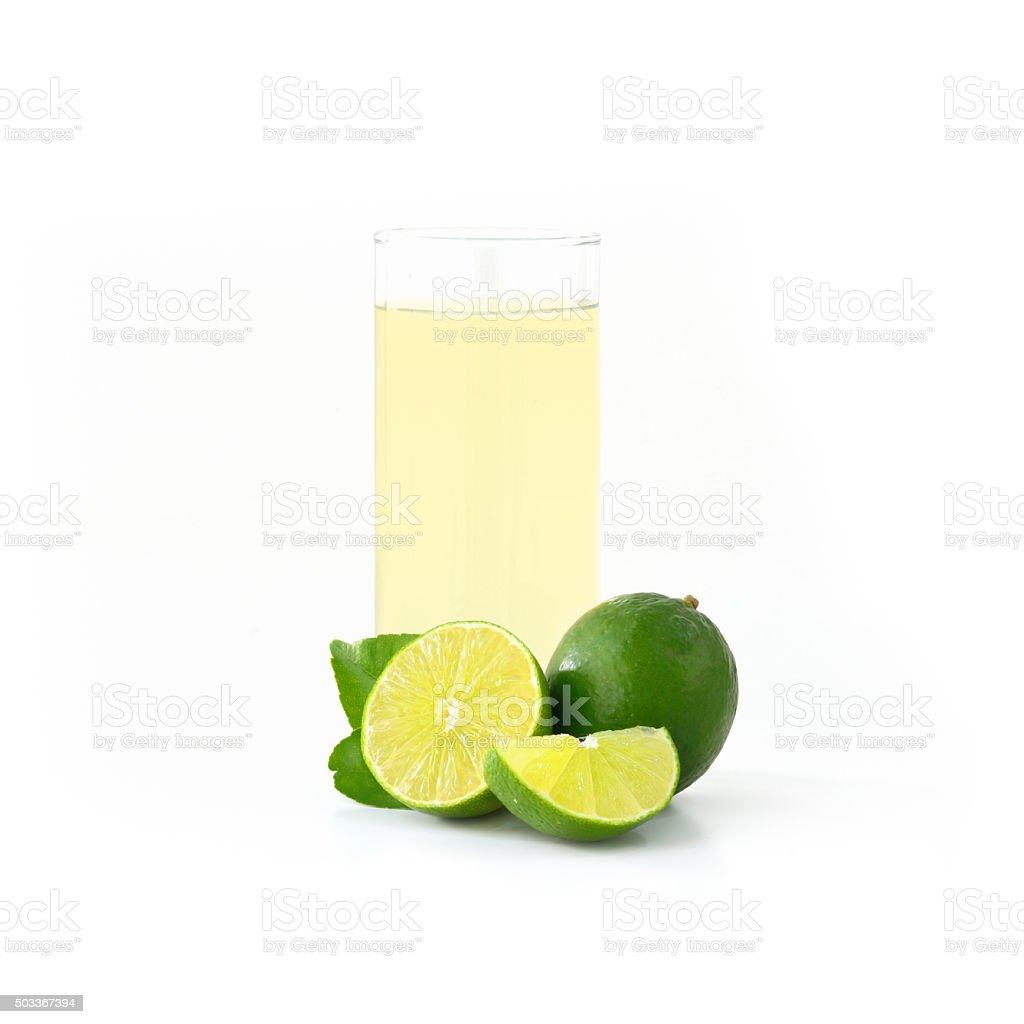 Glass of lemonade isolated on white (Lemon fruit) stock photo