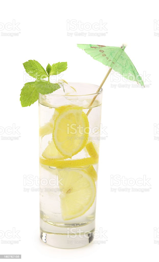 Glass of lemonade with lemon and mint. royalty-free stock photo