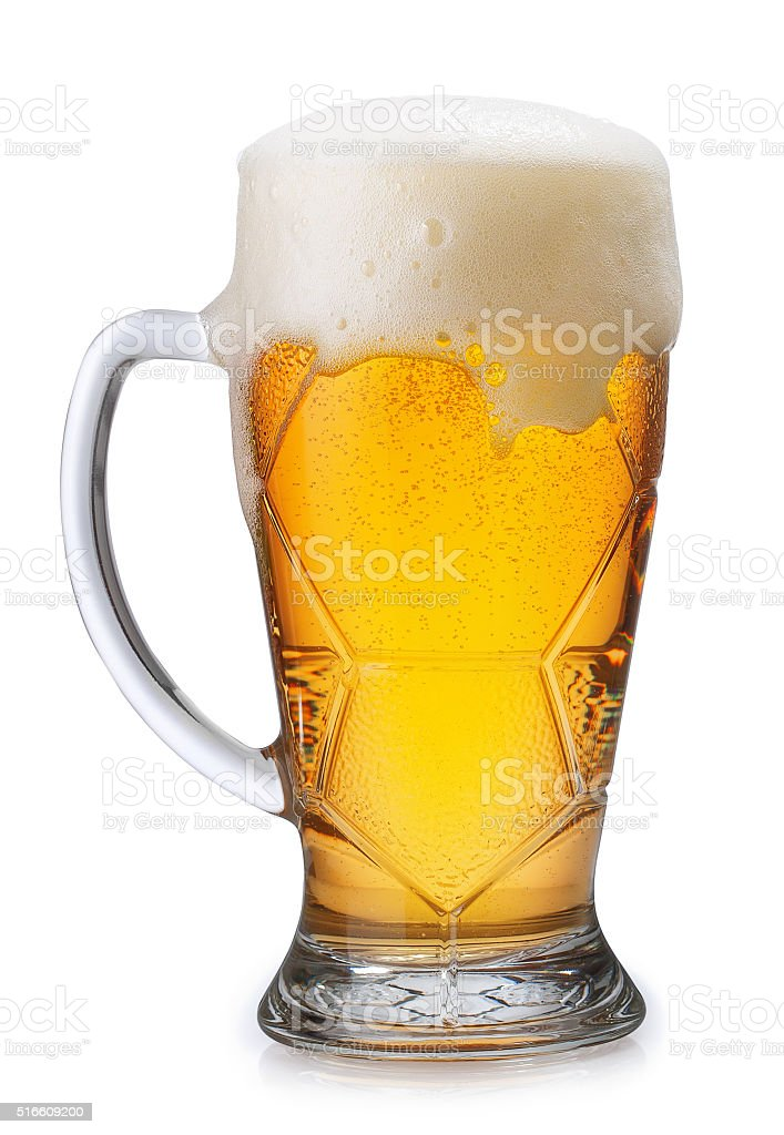 Glass of light beer isolated on white stock photo