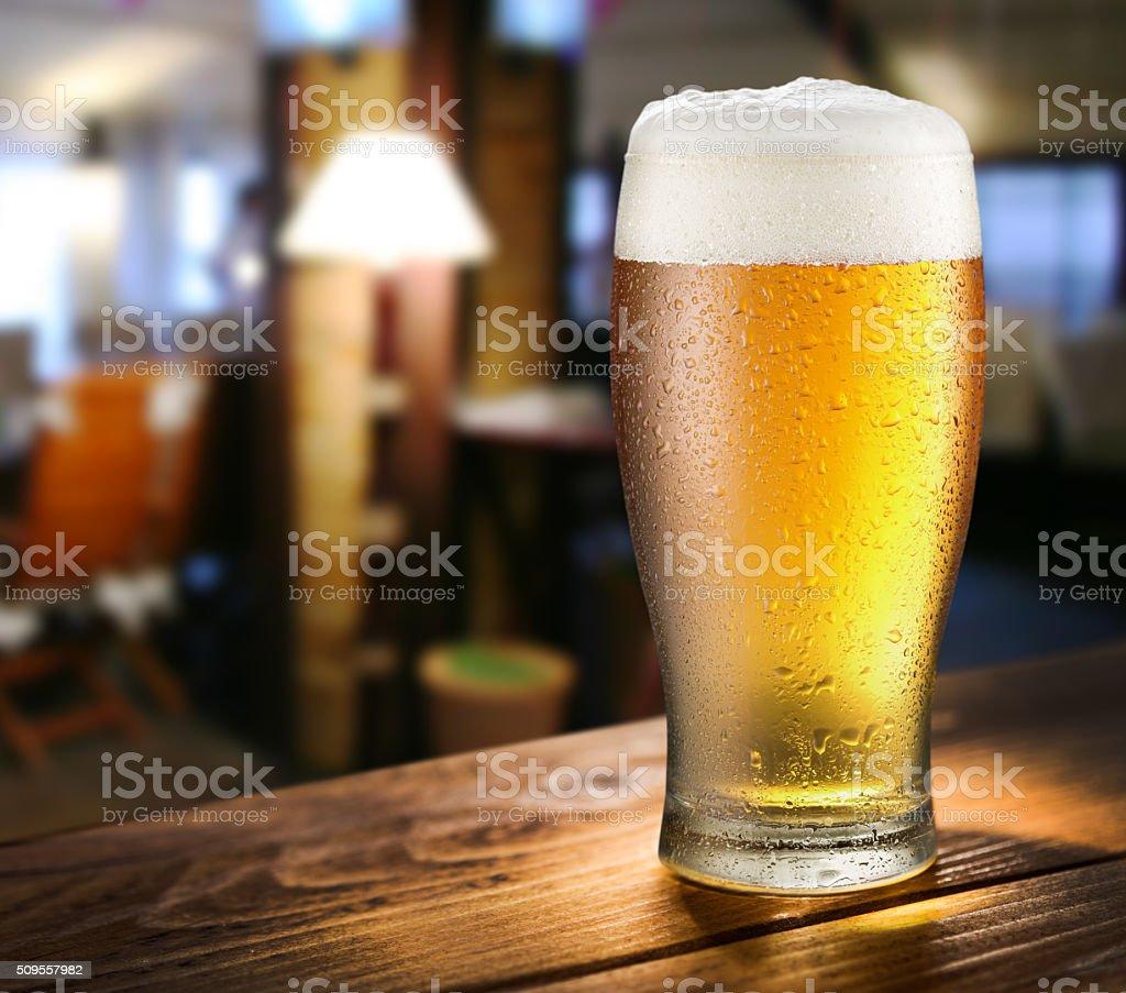 Glass of light beer. stock photo