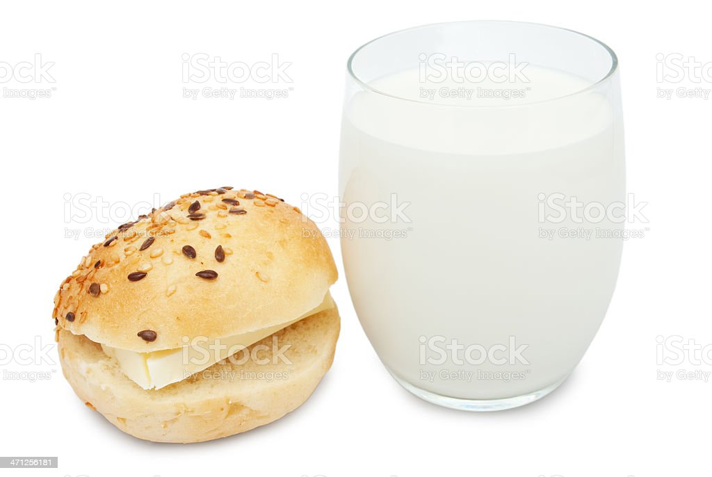 glass of milk and bun with butter royalty-free stock photo