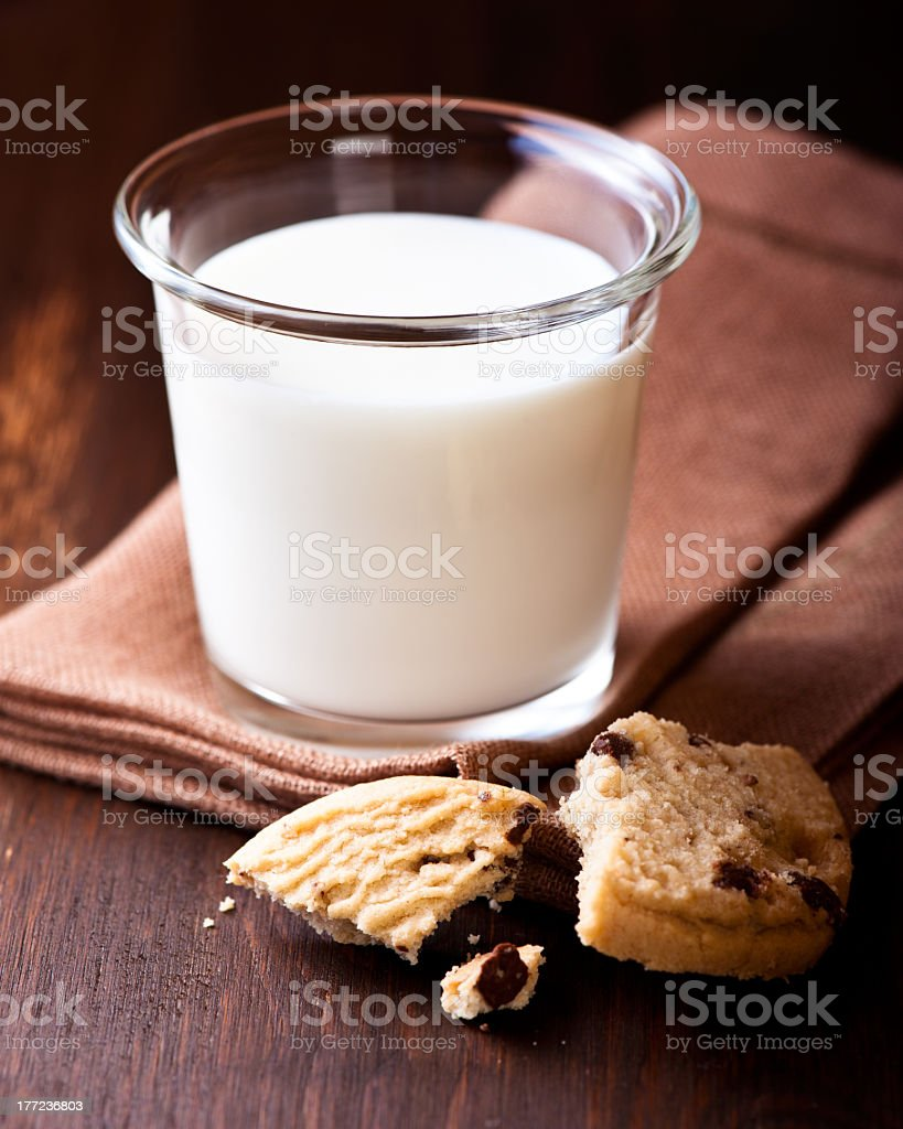 Glass of Milk and Chocolate Chip Cookie royalty-free stock photo