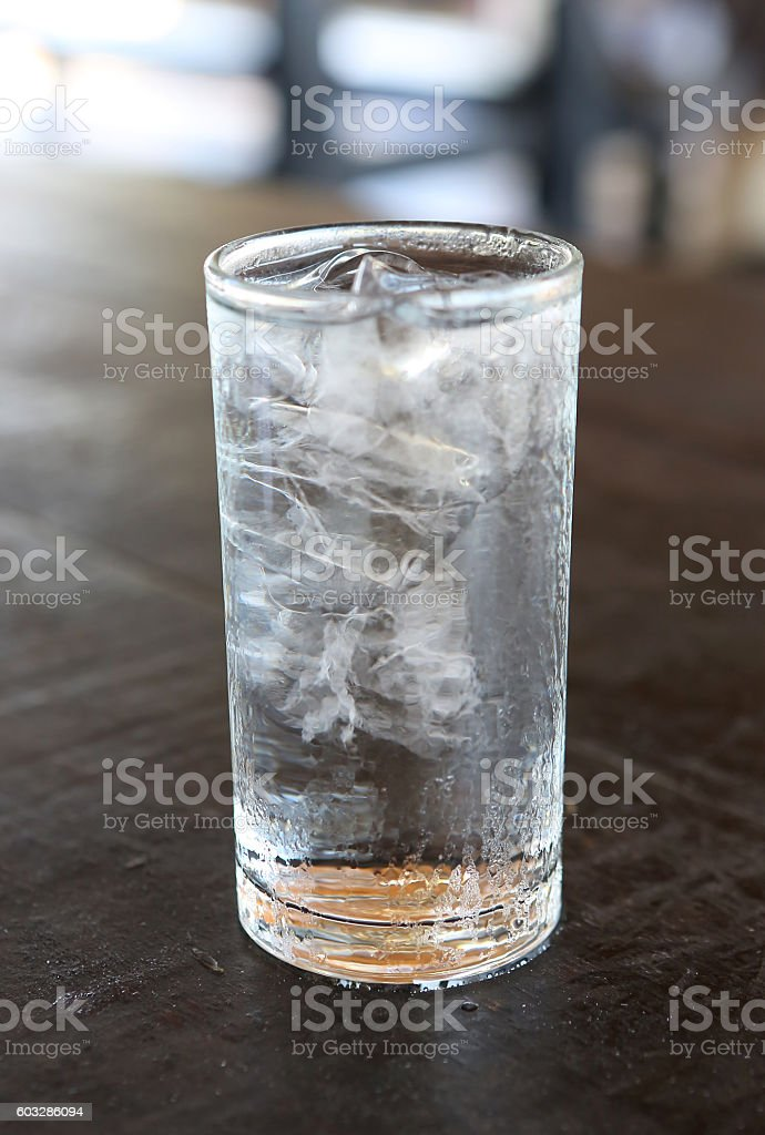 Glass of Mineral Water with Ice. stock photo