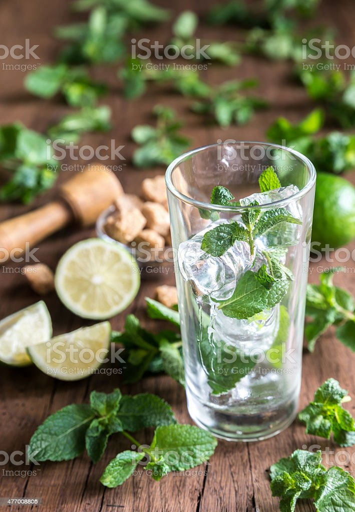 Glass of mojito with ingredients stock photo