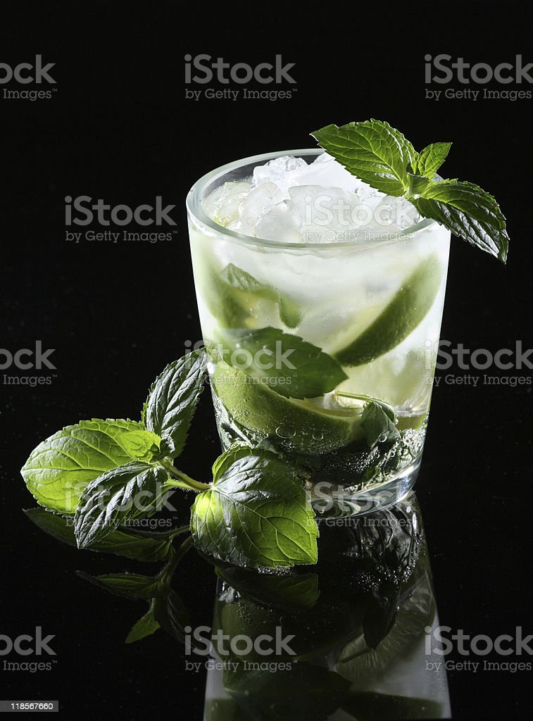 A glass of mojito with mint leaves on a black background stock photo