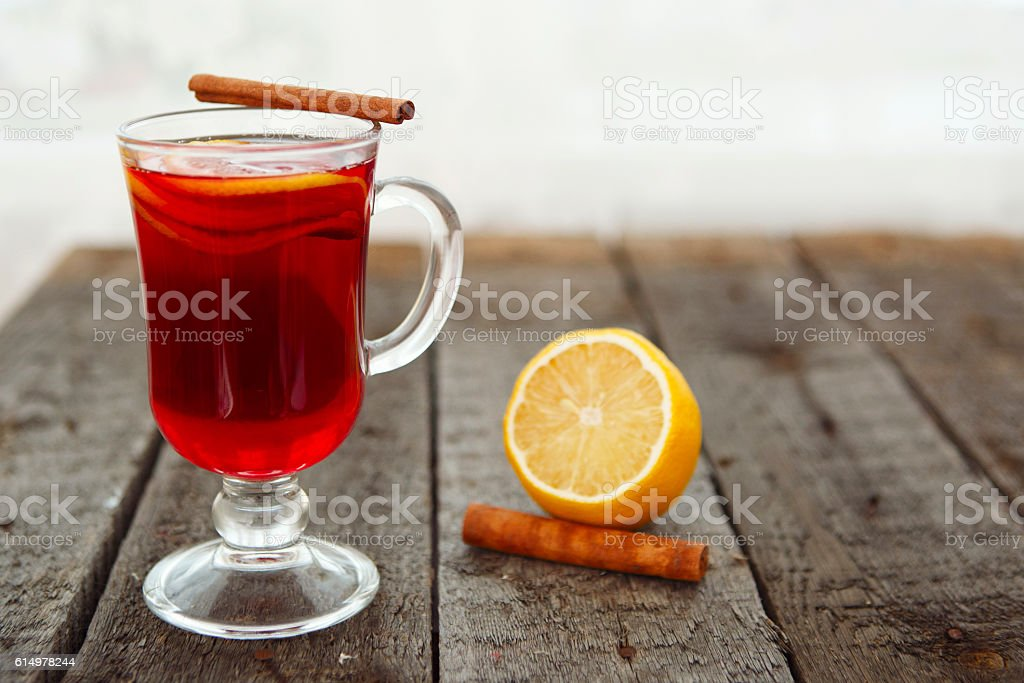 Glass of mulled wine. stock photo