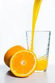 Glass of Orange Juice and Orange Slices Isolated on White