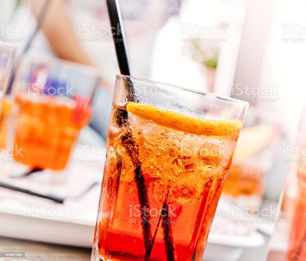 Glass of orange spritz, a famous Italian cocktail royalty-free stock photo