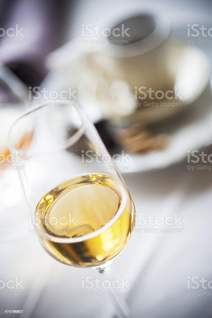 Glass of passito wine stock photo