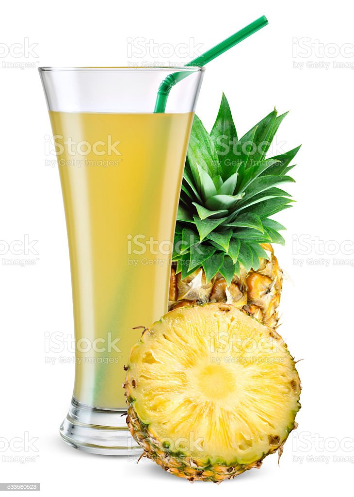 Glass of pineapple juice with fruit isolated on white. stock photo