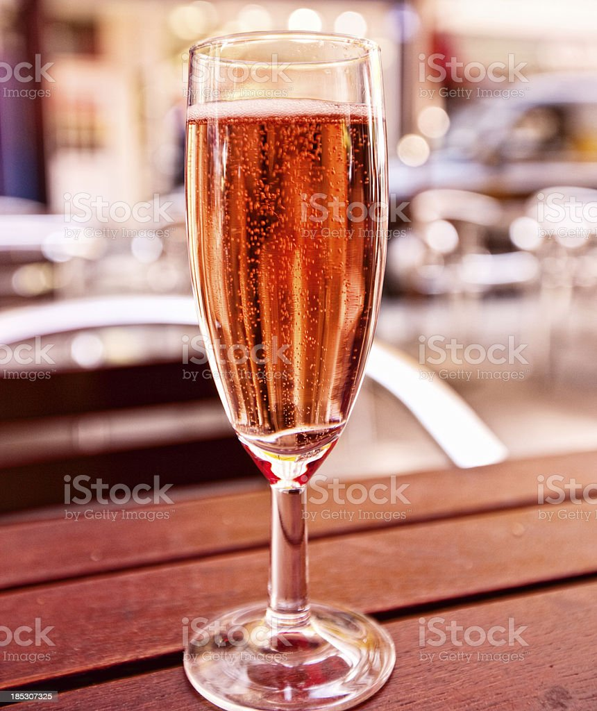 Glass of Pink Sparkling Italian Wine on a table royalty-free stock photo