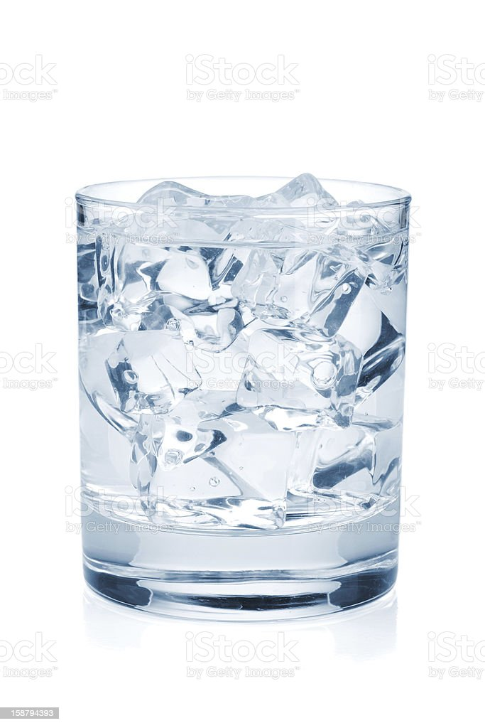 Glass of pure water with ice cubes royalty-free stock photo