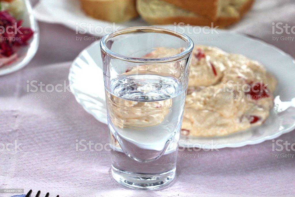 glass of rakia stock photo