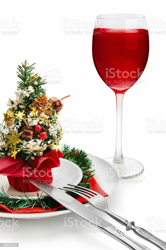 glass of red wine and Christmas decoration royalty-free stock photo