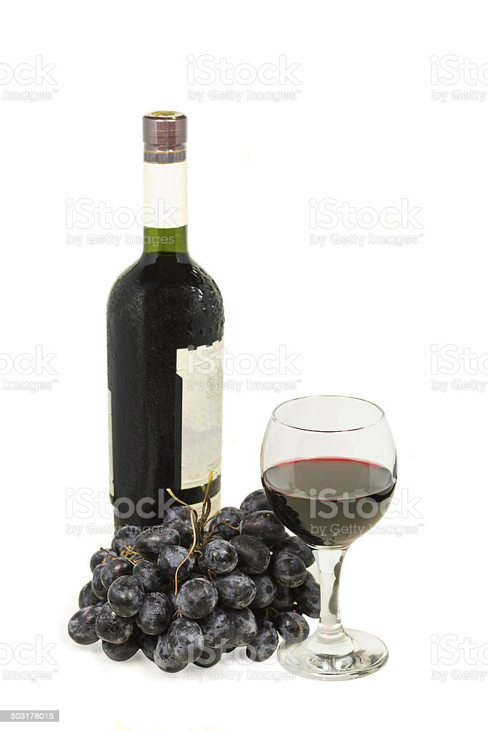 Glass of red wine and grapes. royalty-free stock photo