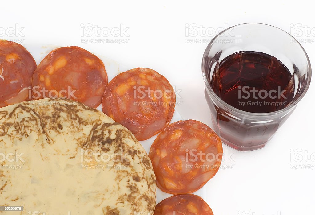 glass of red wine and spanish tapas 2 stock photo