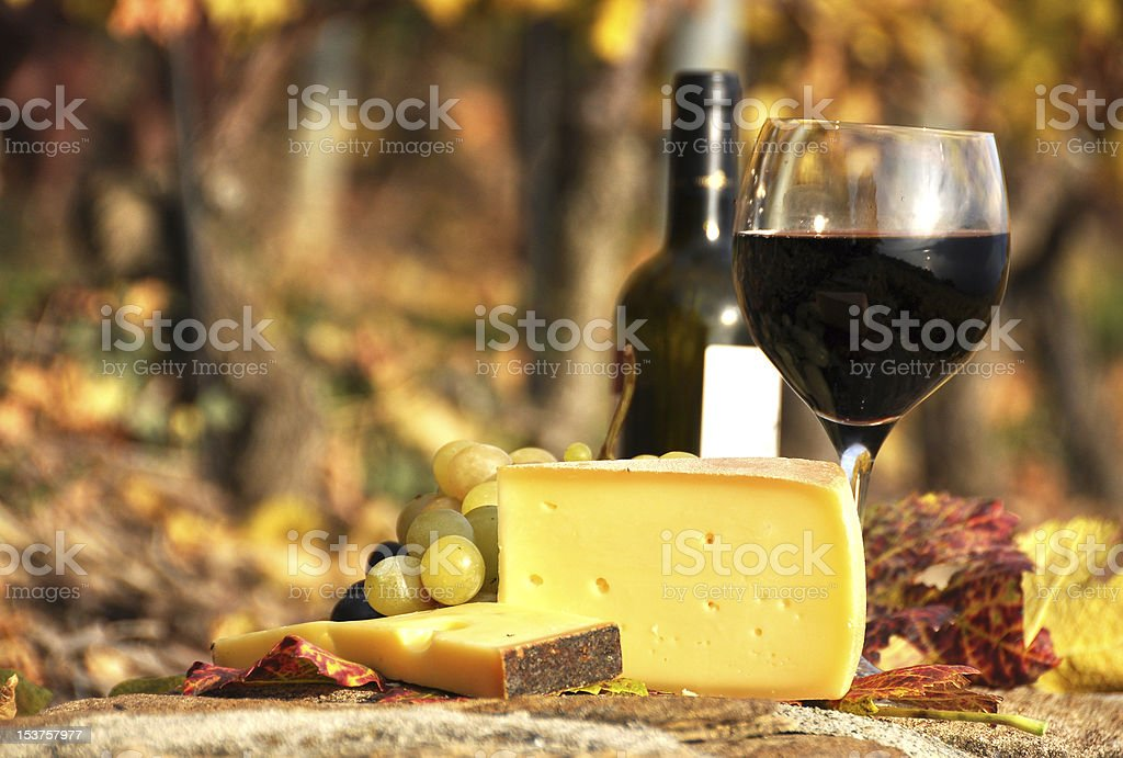A glass of red wine, cheese and grapes stock photo