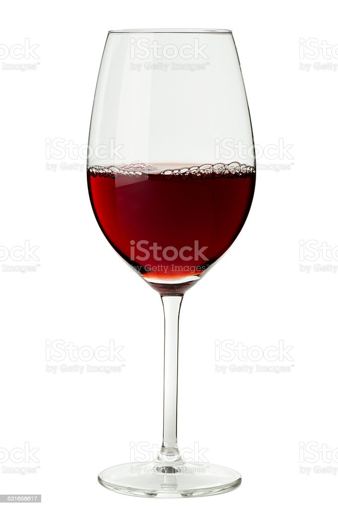 Glass of Red Wine Isolated on White Background stock photo