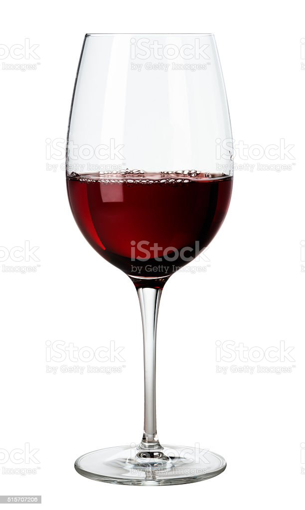 Glass of Red Wine on White stock photo