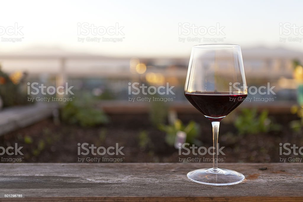 Glass of red wine outdoors stock photo