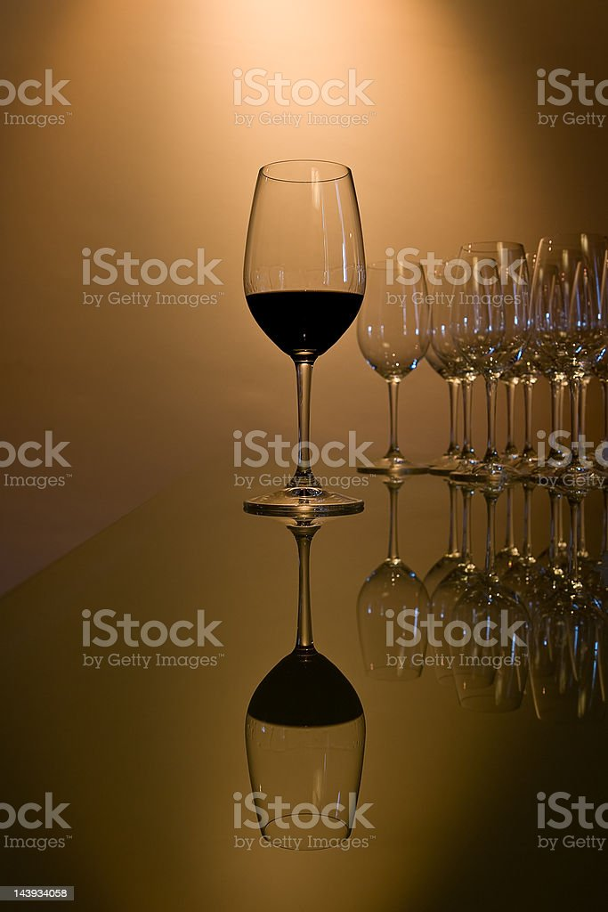 Glass of red wine with reflection royalty-free stock photo