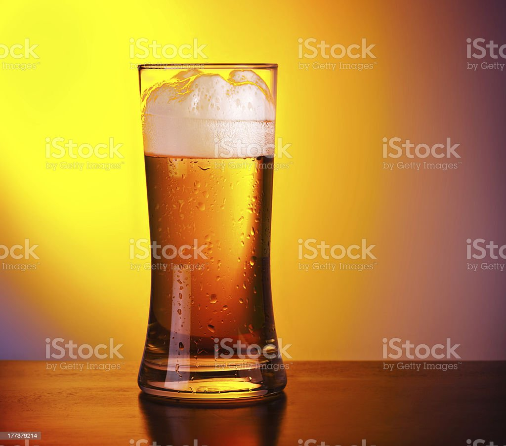 Glass of refreshing beer royalty-free stock photo