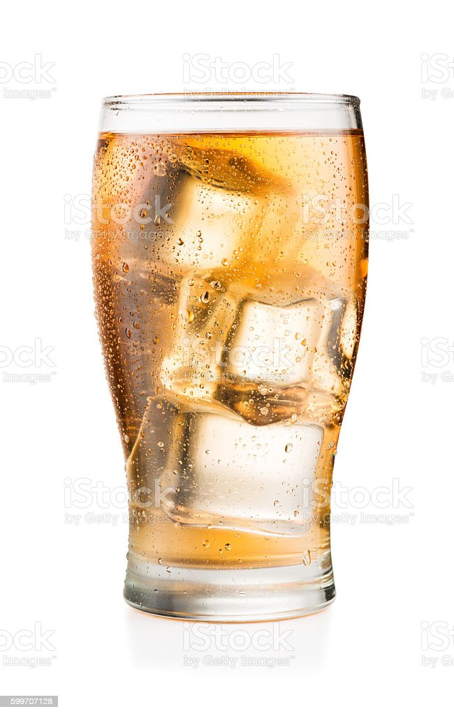 Glass of soft drink isolated on white stock photo