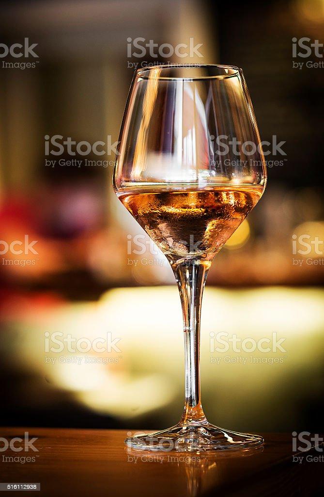 glass of spanish sherry wine on bar counter stock photo