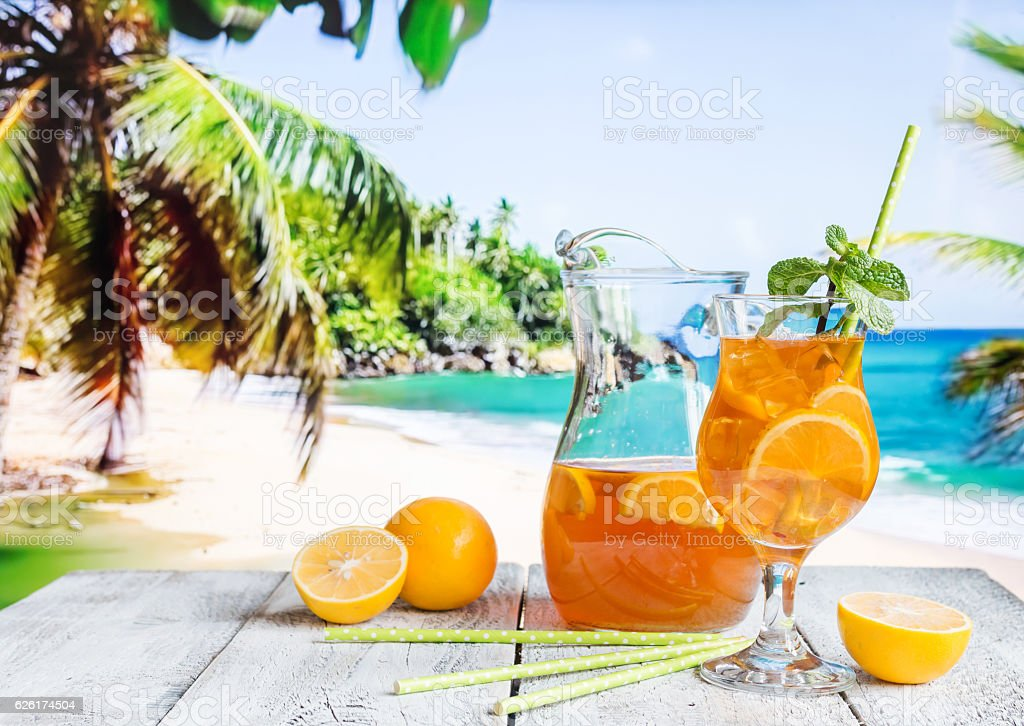 Glass of summer ice tea stock photo