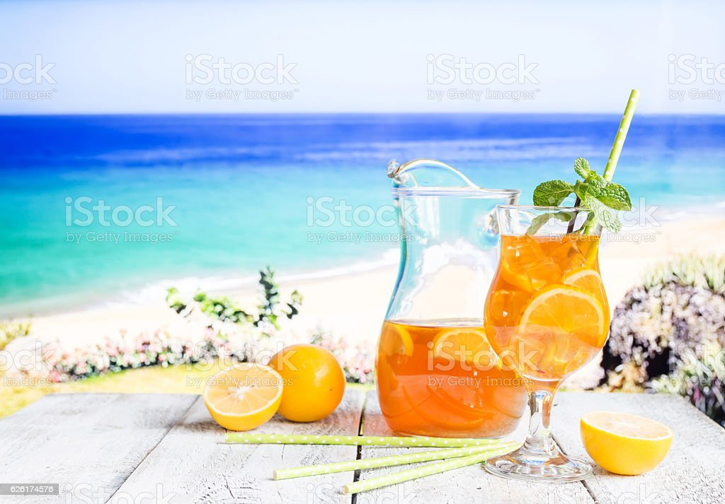 Glass of summer ice tea stock photo