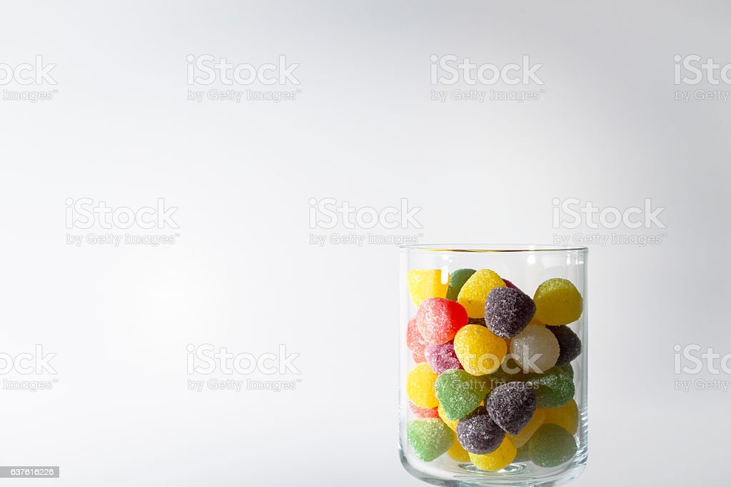 Glass of sweets stock photo