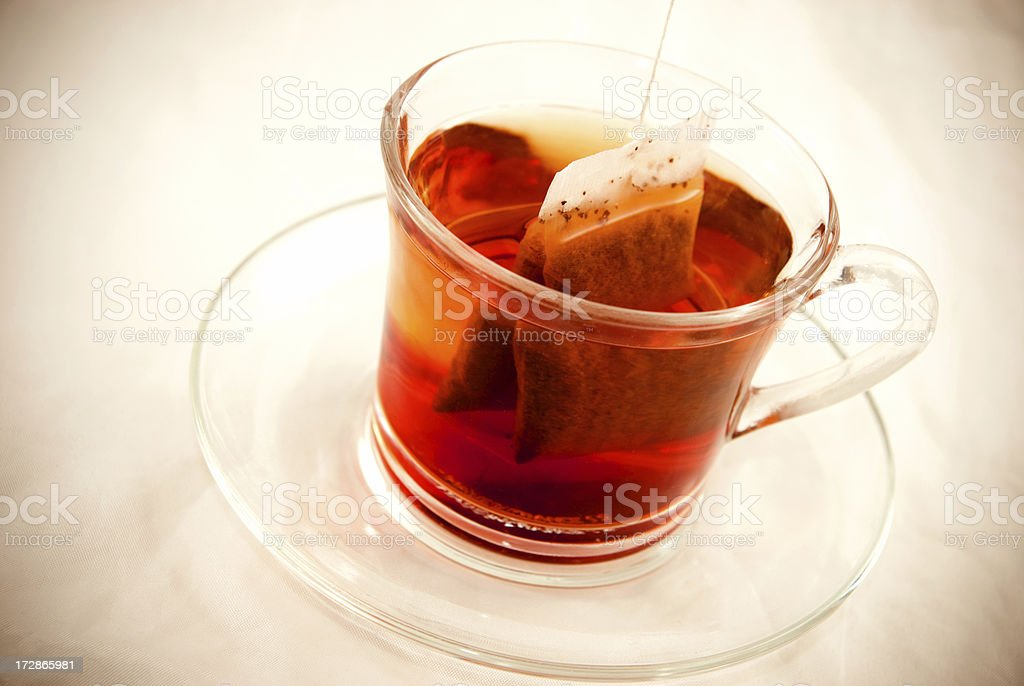 Glass of Tea with Bag End royalty-free stock photo