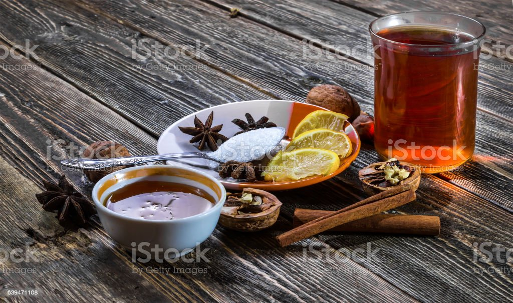 Glass of traditional hot mulled wine stock photo