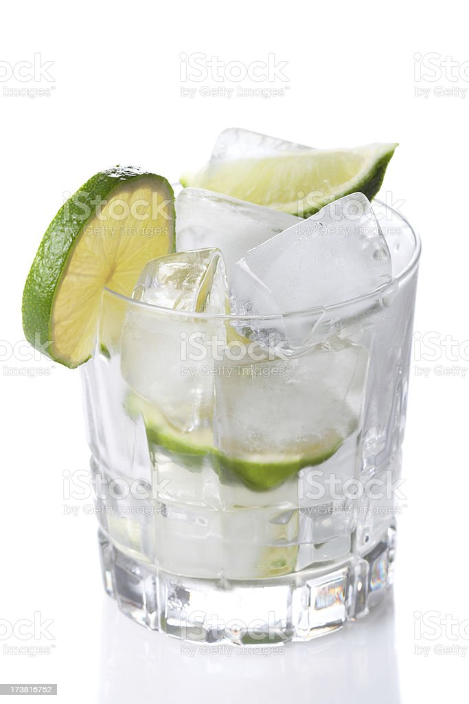 Glass of tropical cocktail dring isolated on white background royalty-free stock photo