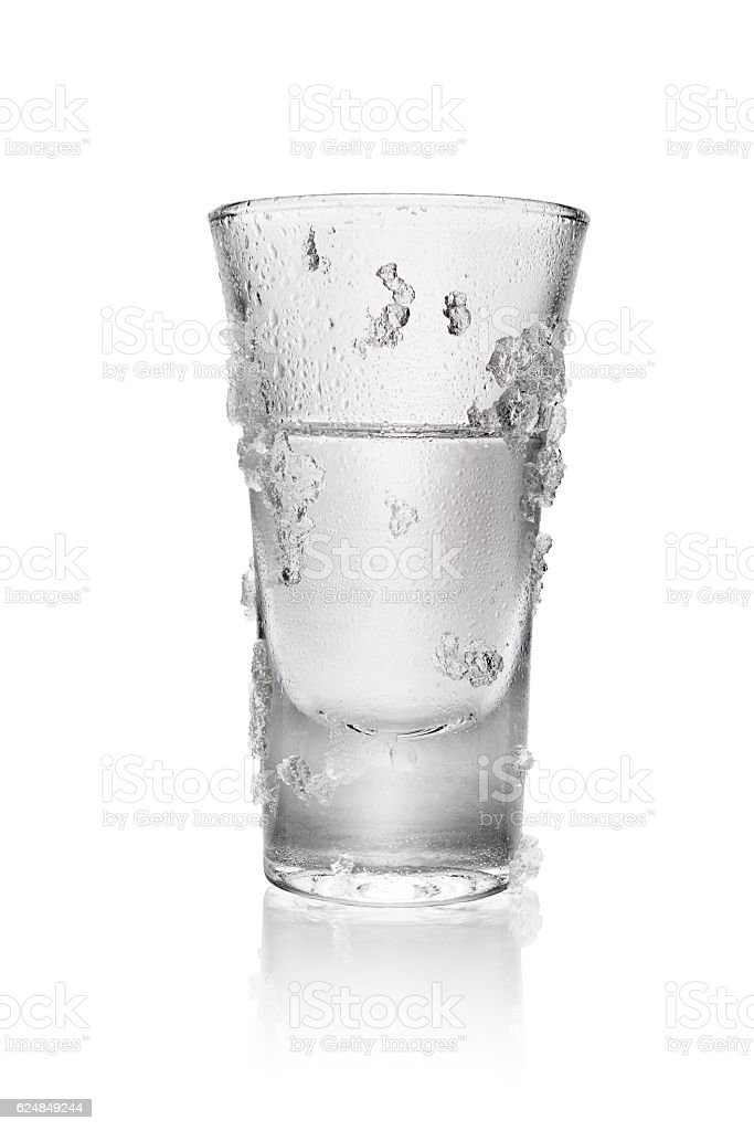 Glass of vodka isolated stock photo