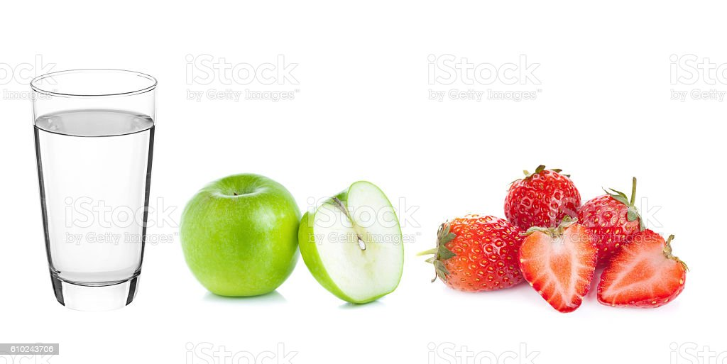 Glass of water Apple and Strawberry isolated stock photo