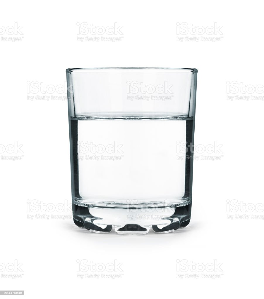 Glass of water isolated on white background stock photo