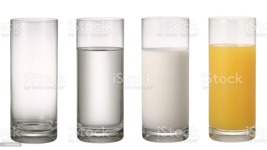 Glass of Water Milk and Orange juice. stock photo