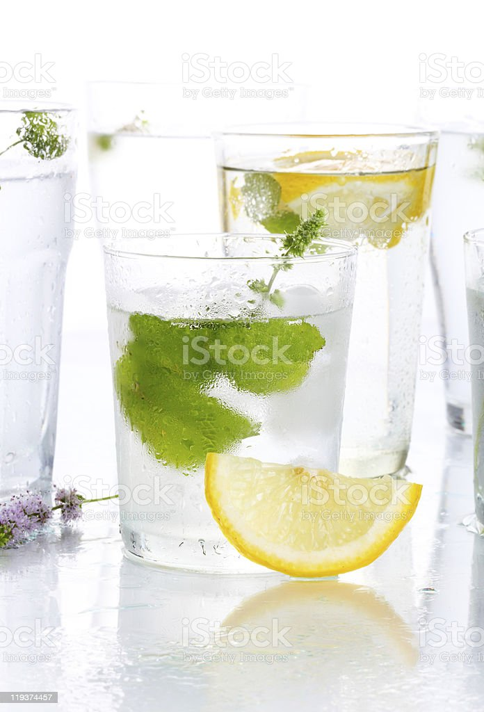 glass of water, mint and lemon stock photo