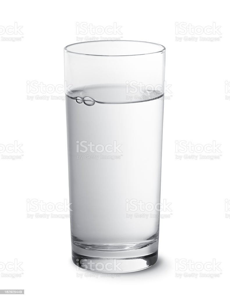 Glass of water photographed against a white background stock photo