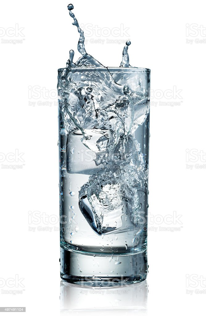 Glass of water with ice. With clipping path stock photo