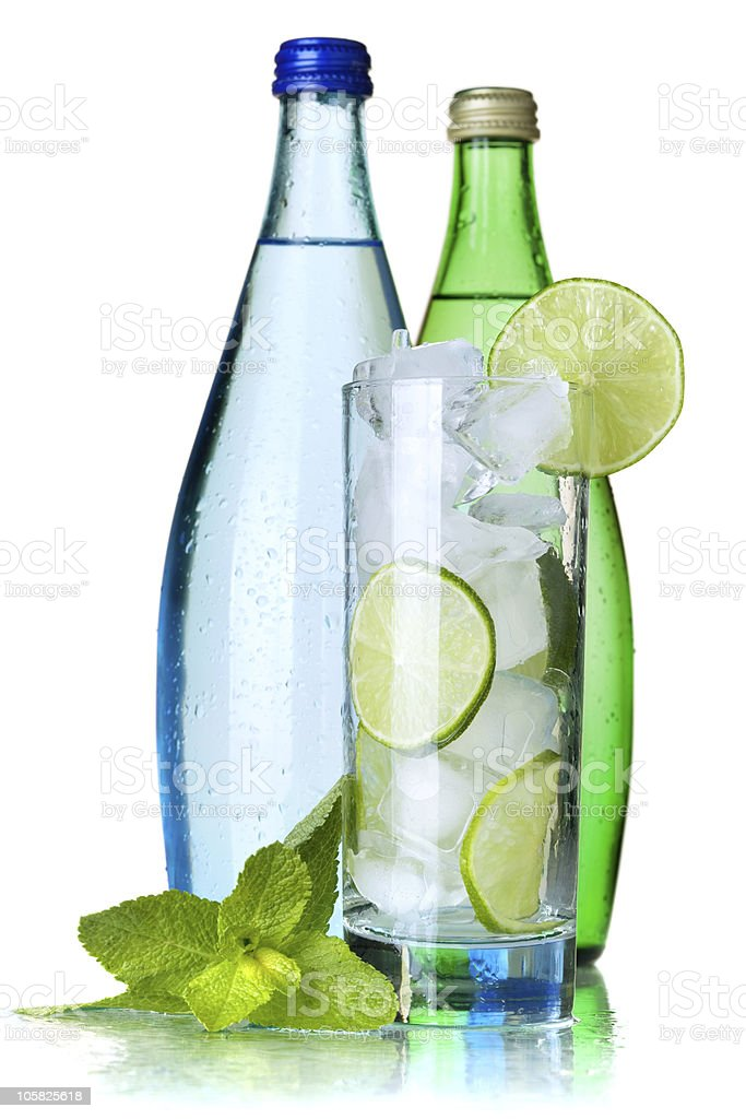 Glass of water with lime, ice and mint royalty-free stock photo