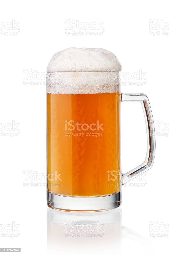 Glass of wheat beer stock photo