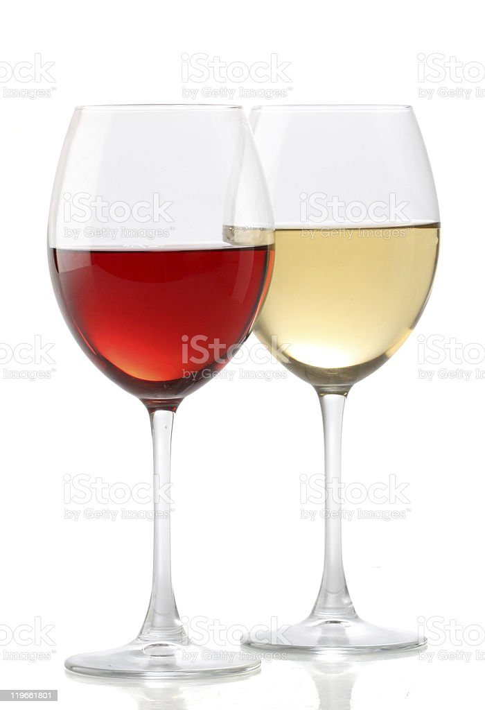 A glass of white wine and a glass of red wine stock photo