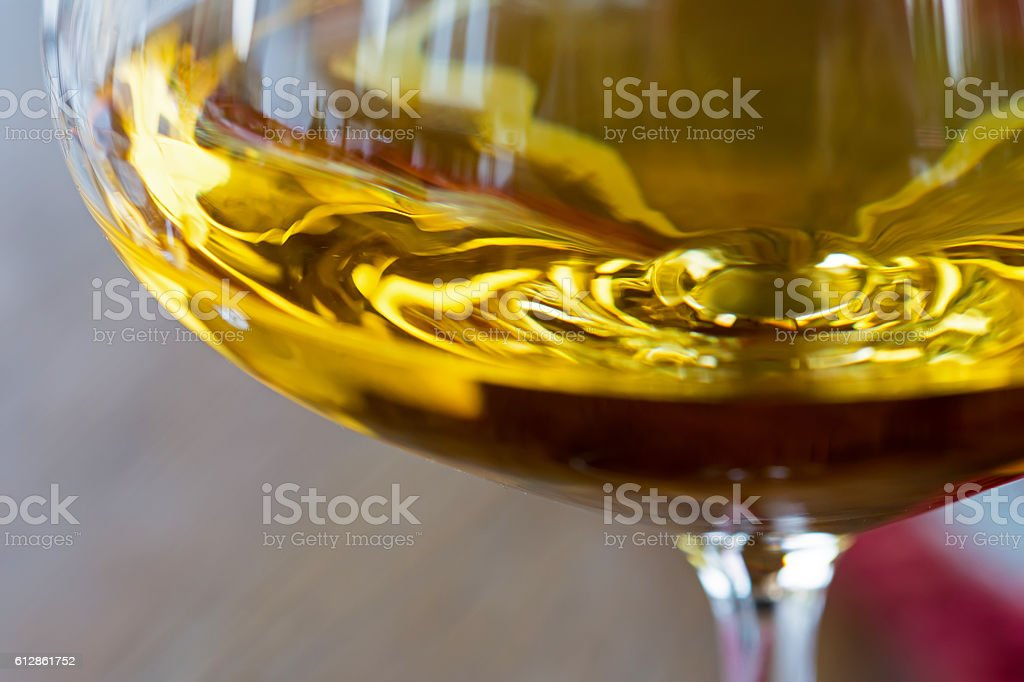 Glass of White Wine Close Up stock photo